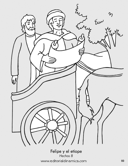ethiopian eunuch coloring page - bible coloring picture of philip coloring pages